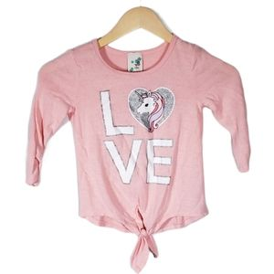 Lily Bleu Pink Love Unicorn Tie Front Tee 6X